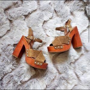 Lucky Brand Wooden Platform Sandals Size 7.5